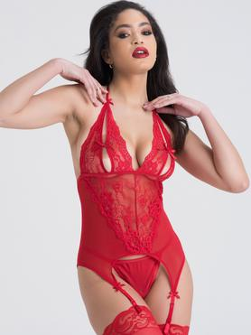 Lovehoney Red Peek-A-Boo Merry Widow Bustier Set