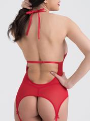 Lovehoney Peek-A-Boo Merry Widow Black Bustier Set , Red, hi-res
