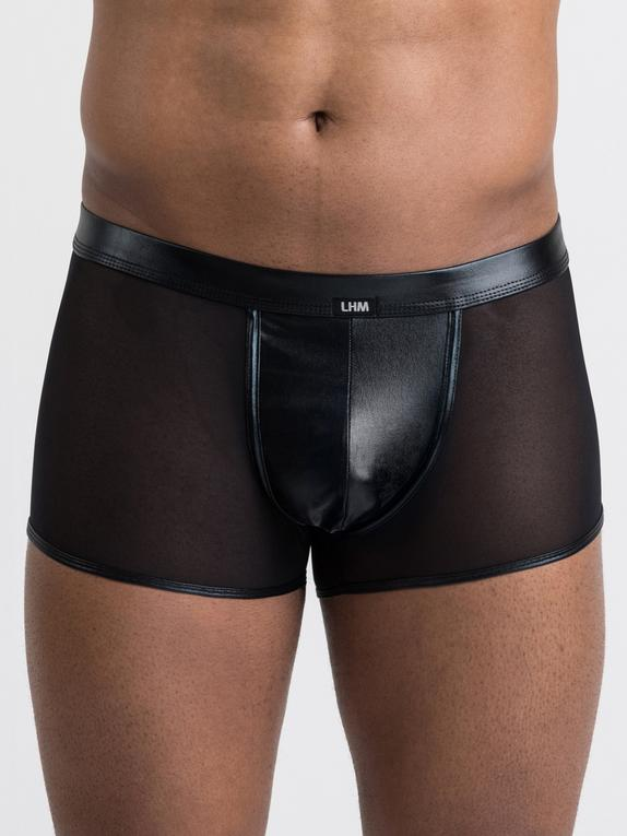 LHM Wet Look and Sheer Mesh Boxer Shorts, Black, hi-res