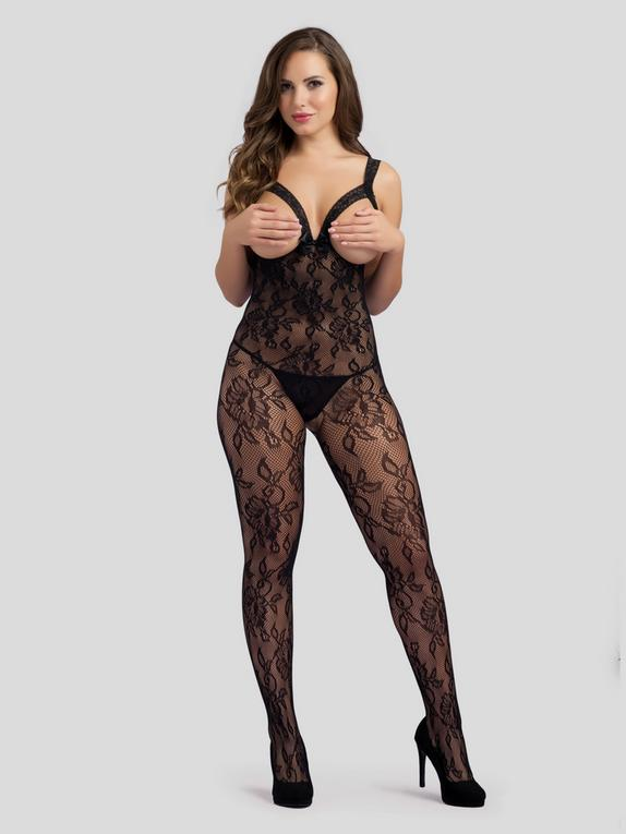 Lovehoney Love On Top Crotchless Open Cup Bodystocking, Black, hi-res