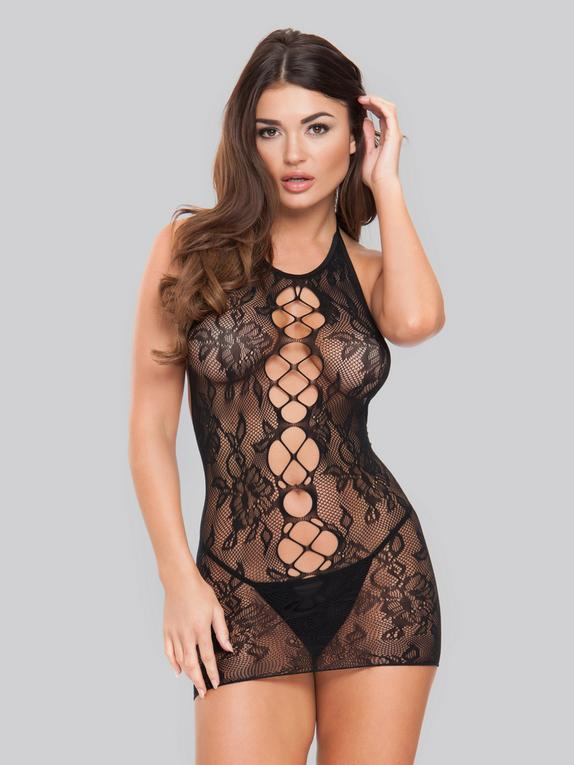 Lovehoney Floral Lace Cut-Out Front Mini Dress, Black, hi-res