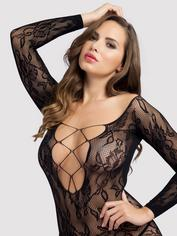 Lovehoney Lace Criss-Cross Long-Sleeve Mini Dress, Black, hi-res