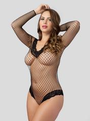 Lovehoney Crotchless Lace Trim Fishnet Body, Black, hi-res