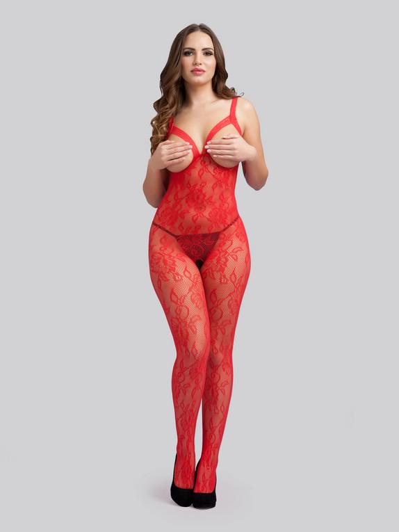 Lovehoney Crotchless Red Floral Lace Open Bust Bodystocking, Red, hi-res