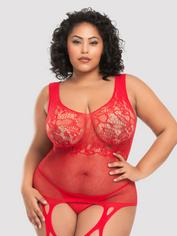 Lovehoney Plus Size Red Lace and Fishnet Garter Bodystocking, Red, hi-res