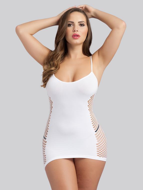 Lovehoney Hourglass Black Mini Dress, White, hi-res