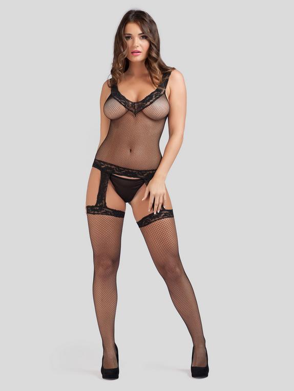 Lovehoney Fishnet and Lace Suspender Bodystocking, Black, hi-res