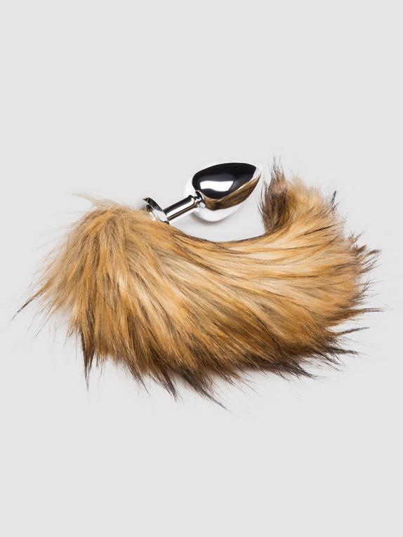 DOMINIX Deluxe Large Stainless Steel Faux Fox Tail Butt Plug 4 Inch, Silver, hi-res