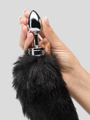 DOMINIX Deluxe Stainless Steel Medium Faux Fur Animal Tail Butt Plug, Black, hi-res