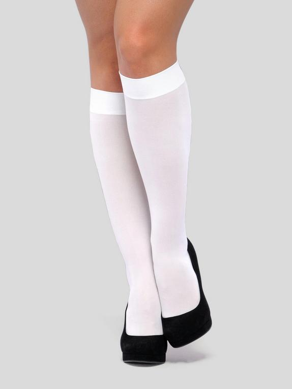 Lovehoney Fantasy White Knee-High Socks, White, hi-res