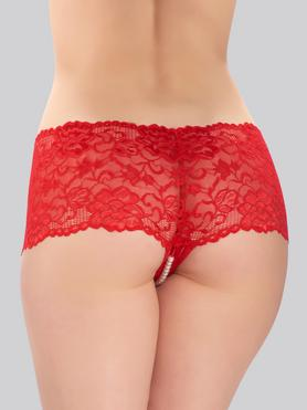 Lovehoney Red Crotchless Pearl Shorts