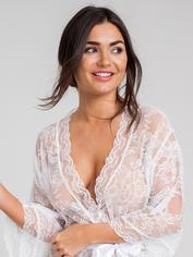 Lovehoney Flaunt Me Floral Lace Robe, White, hi-res