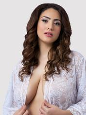 Lovehoney Flaunt Me Black Lace Robe, White, hi-res
