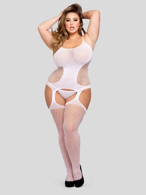 Lovehoney Contour Queen Hourglass Suspender Bodystocking, White, hi-res