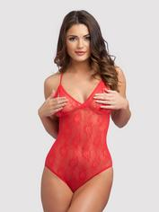 Lovehoney Crotchless Lace Peek-a-Boo Body, Red, hi-res