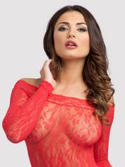 Lovehoney Off the Shoulder Lace Mini Dress, Red, hi-res