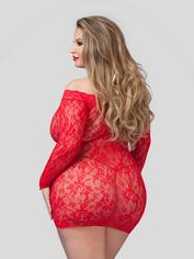 Lovehoney Off the Shoulder Lace Mini Dress, Red, hi-res