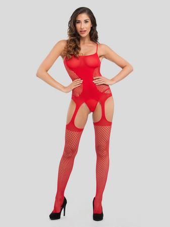 Lovehoney Good in Red Hourglass Garter Bodystocking
