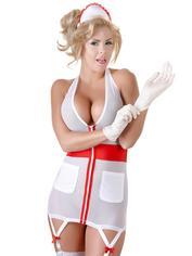 Tenue d'infirmière sexy transparente et zippée, Cottelli, Blanc, hi-res