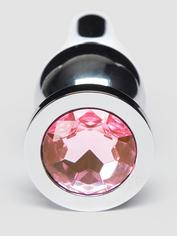 LuxGem Pink Jewelled Metal Butt Plug 4 Inch, Silver, hi-res