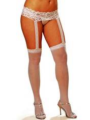 Dreamgirl White Crotchless Suspender Tights, White, hi-res