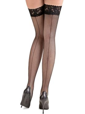 Gabriella Fishnet Lace Top Back Seam Thigh Highs