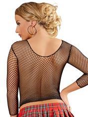 Mandy Mystery Long-Sleeved Fishnet Top, Black, hi-res