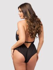 Lovehoney Barely There Sheer Purple Crotchless Teddy, Black, hi-res