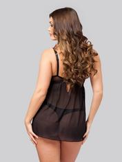 Lovehoney Barely There Black Push-Up Babydoll Set, Black, hi-res