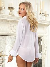Dreamgirl Sheer Boyfriend Shirt and Lace Bra Set, White, hi-res