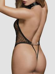 Dreamgirl Fishnet Thong-Back Body and Wrist Cuffs, Black, hi-res