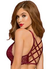 Seven 'til Midnight Wine Lace Longline Bralette with Lattice Back, Red, hi-res