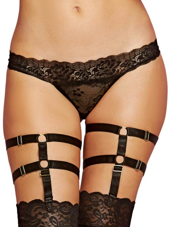 Seven 'til Midnight Adjustable Leg Harness Garters, Black, hi-res