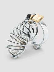 Impound Corkscrew Male Chastity Cage with Urethral Sound, Silver, hi-res