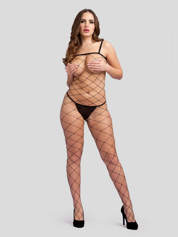 Lovehoney Come and Net It Crotchless Bodystocking, Black, hi-res