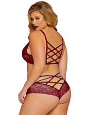 Seven 'til Midnight Plus Size Wine Cage-Back Knickers, Red, hi-res