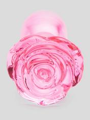 Lovehoney Full Bloom Large Rose Glass Butt Plug 4 Inch, Pink, hi-res