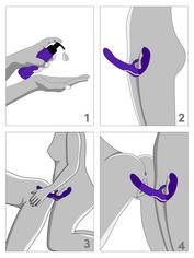 Desire Luxury Rechargeable Strapless Strap-On Dildo Vibrator, Purple, hi-res