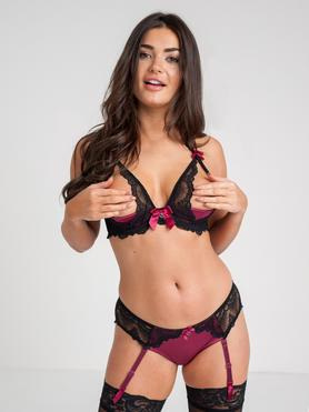Lovehoney Moonlight Black Peekaboo Bra and Suspender Knickers Set