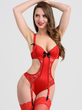 Lovehoney Seduce Me Red Push-Up Crotchless Cut-Out Body