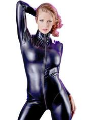 Cottelli Long Sleeve Zip-Through Wet Look Catsuit, Black, hi-res