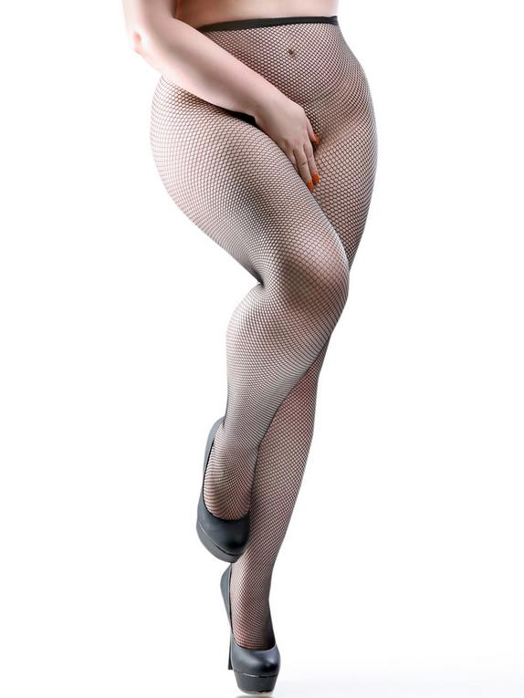Miss Naughty Plus Size Crotchless Fishnet Tights, Black, hi-res