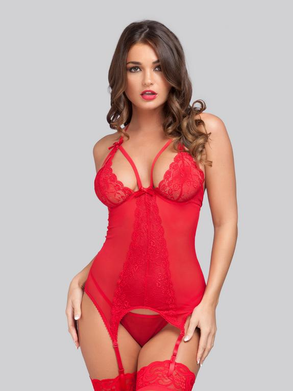 Lovehoney Wild Romance Red Basque Set, Red, hi-res
