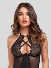 Lovehoney Twilight Temptation Halterneck Basque Set, Black, hi-res