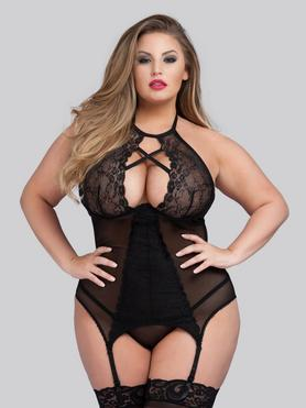 Lovehoney Plus Size Twilight Temptation Halterneck Basque Set