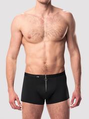 LHM Zip Front Microfibre Boxer Shorts, Black, hi-res