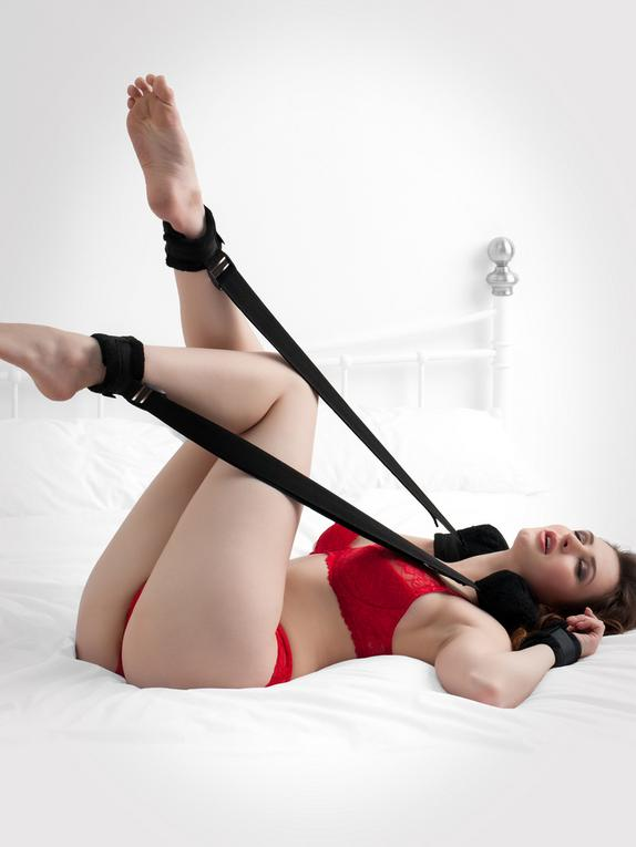 Bondage Boutique Plush Sex Position Restraint with Cuffs, Black, hi-res