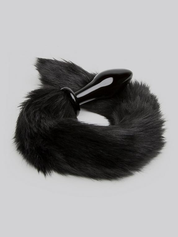 DOMINIX Deluxe Glass Faux Fur Animal Tail Butt Plug, Black, hi-res