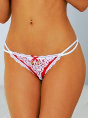 Escante Crotchless Briefs with Golden Bells, Red, hi-res