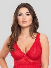 Lovehoney Plus Size Love Me Lace Red Soft Cup Babydoll Set, Red, hi-res